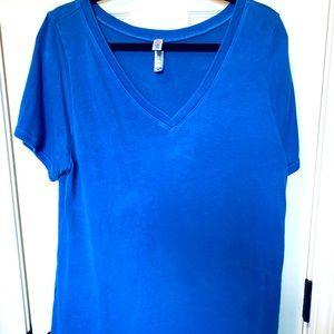 LULAROE Solid Royal Blue V Neck Christy T XL